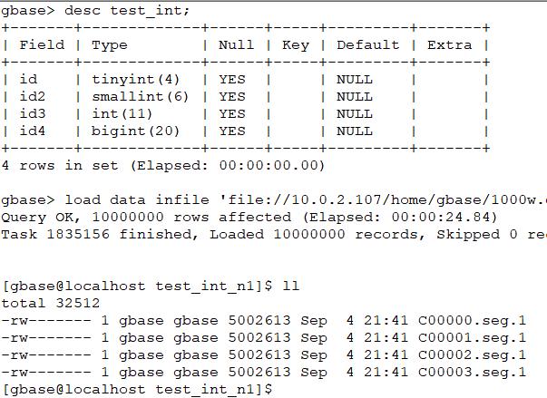 GBase 8a相同数字不同类型的存储区别