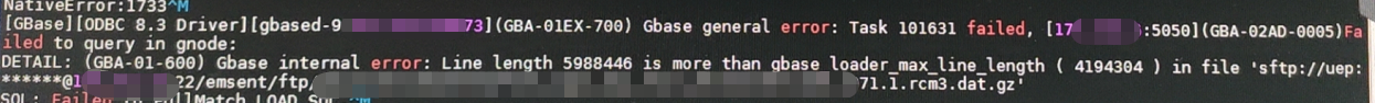 Line length 5988446 is more than gbase_loader_max_line_length